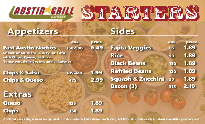 Dine On Campus at UNC - Asheville || Austin Grill Menu