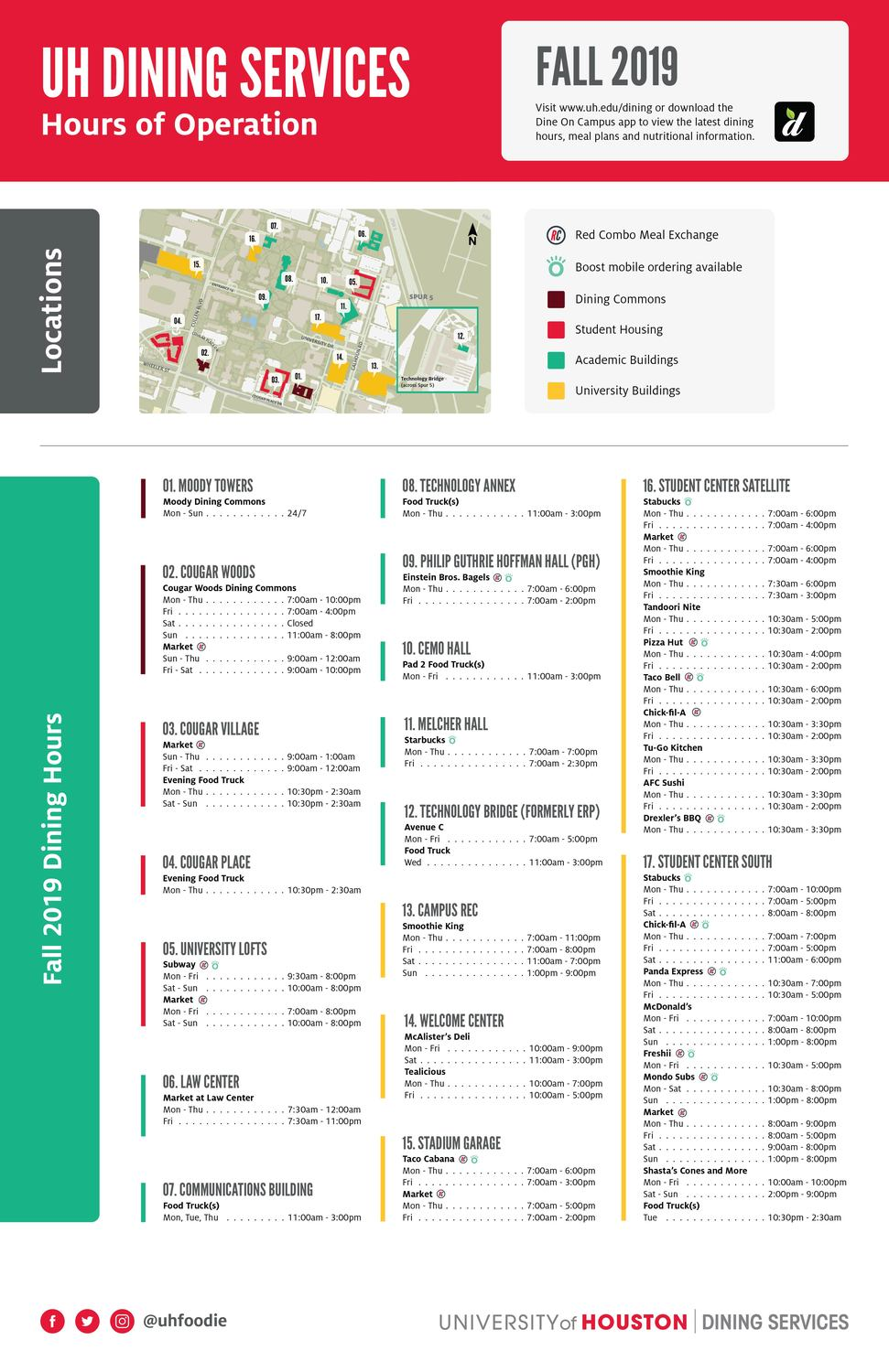 Dine On Campus at University of Houston    Hours of Operations U Of Houston Main Campus Map on u of houston victoria, u of houston downtown, u of houston football, u of houston map, u of h campus, u of houston colors, houston university campus,