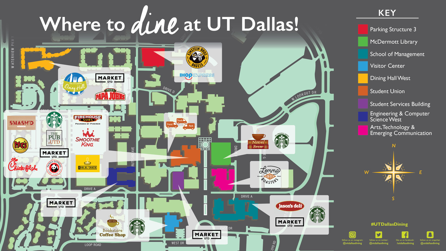 Dine On Campus at The University of Texas at Dallas || Where ... U Texas Campus Map on u texas commencement, ut austin building map, u of arizona campus map, u albany campus map, u pitt campus map, university of texas map, u texas computer science, u new haven campus map, u of idaho campus map, u texas map network drive,